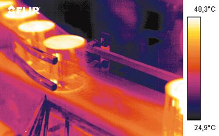 Thermal imaging cameras can be used to inspect package sealing and improve efficiency in other food processing operations.